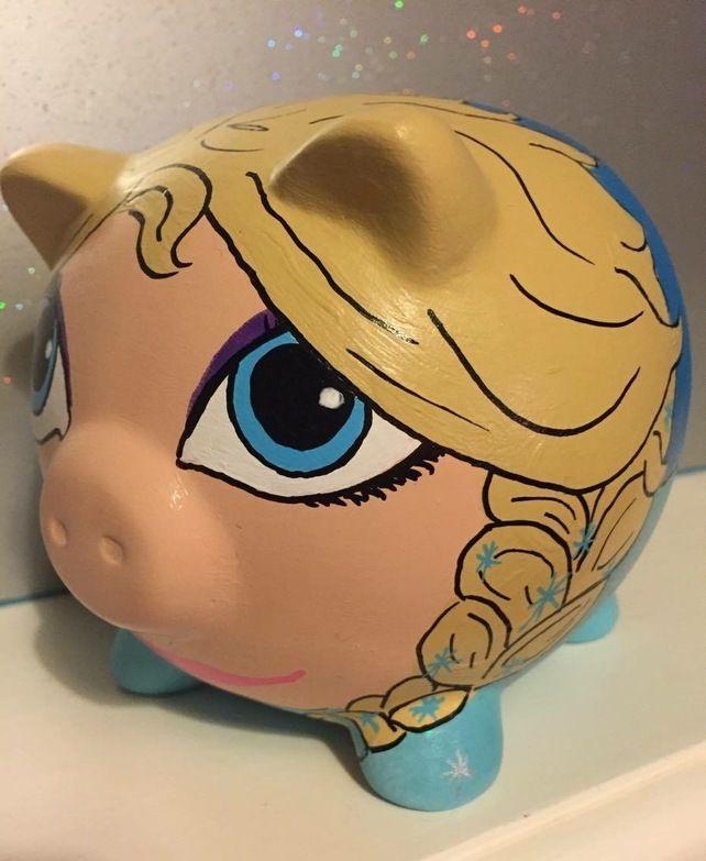 Elsa Frozen Themed Disney Hand Painted Piggy Bank Money