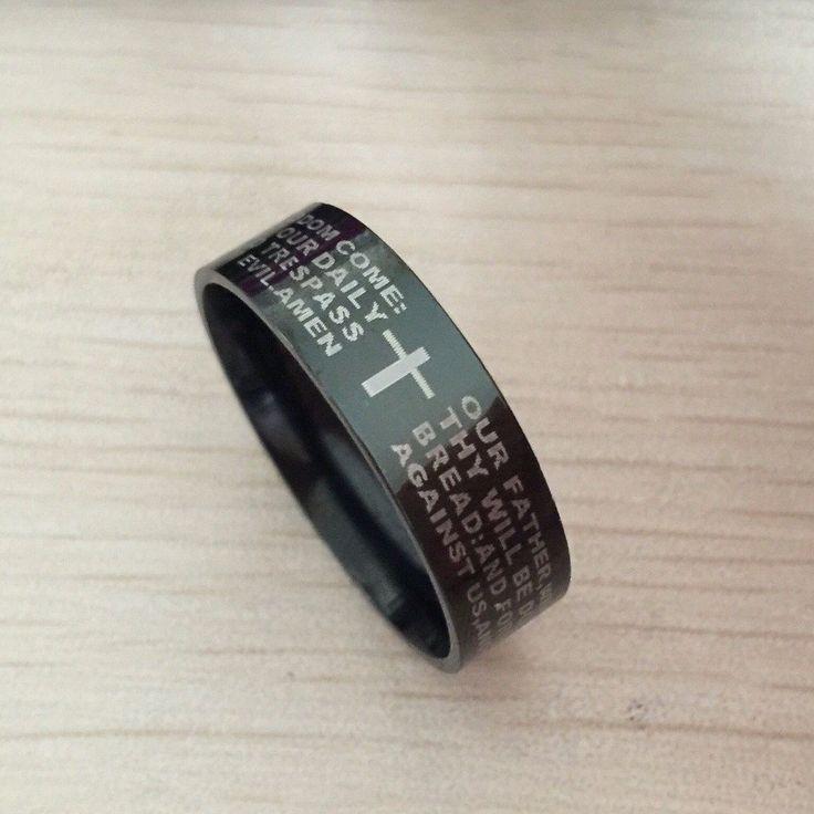 Black men english bible ring 8mm 316 Titanium Steel cross Letter prayer bible wedding band the lord of the ring men women