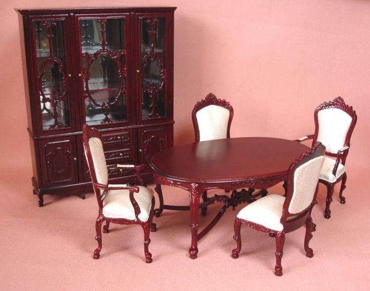 Dollhouse Miniature Mahogany Ornate Dining Room Furniture Set