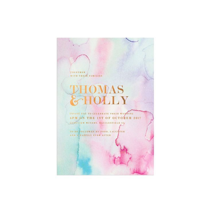 Pastel Watercolours with Bronze Foil Wedding Invitations by Sail and Swan Australia sydney perth melbourne brisbane stylish elegant luxe wedding invites watercolour invitations pink blue purple pastel soft watercolour wedding stationery