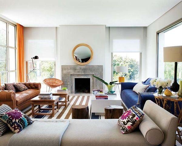 via Style by Emily Henderson: Interior Design, Livingrooms, Idea, Living Rooms, Leather Sofa, Interiors, Blue Sofa, House