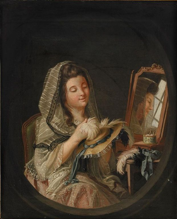 Boudoir interior with the artist's daughter by Pehr Hilleström, 1780s