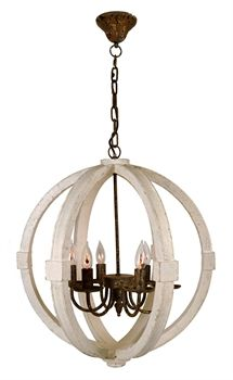 Airy, white-washed wooden Chandelier.