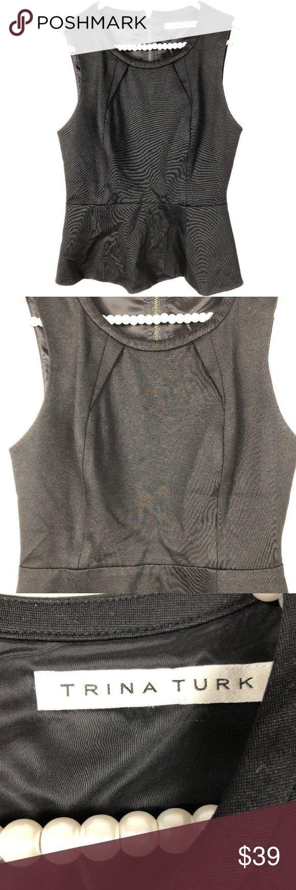 "TRINA TURK Womens M Black Top Back Zip Casual Wear TRINA TURK Womens S Small? Black Peplum Top Back Zip Career Casual Wear  pit to pit 16.5"" length from shoulder 22"" Trina Turk Tops Blouses"