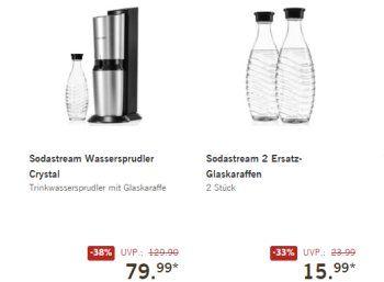"""Lidl: Sodastream Crystal für 79,99 Euro, Ersatzflaschen für 15,99 Euro http://www.discountfan.de/artikel/essen_und_trinken/lidl-sodastream-crystal-fuer-79-99-euro-ersatzflaschen-fuer-15-99-euro.php Bei Lidl ist jetzt im Onlineshop der """"Sodastream Crystal"""" zum Schnäppchenpreis von 79,99 Euro im Angebot. Zwei Ersatz-Karaffen gibt es für 15,99 Euro. Lidl: Sodastream Crystal für 79,99 Euro, Ersatzflaschen für 15,99 Euro (Bild: Lidl.de) Der Sodastream Crystal f"""