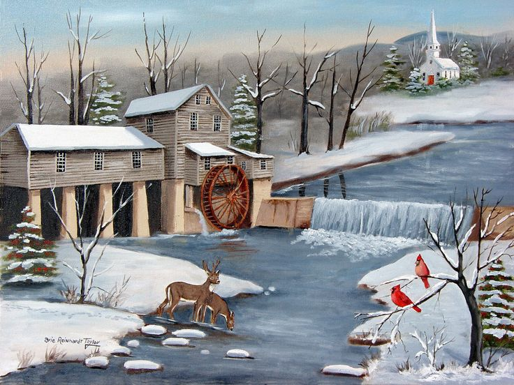 Framed Canvas Art Folk Art Original Painting Country Snow Scene Pigeon Forge Grist Mill Winter Wall Art Cardinal Bird Fine Art Painting Arie by jagartist on Etsy