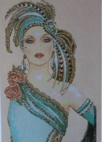 Cross Stitch Chart Art Deco Lady in Aqua Dress No 12VB 82 | eBay