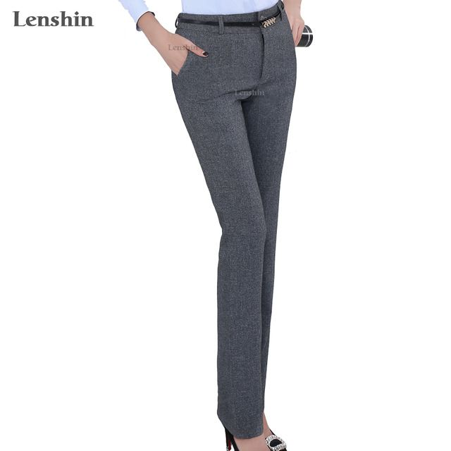 8cd28a9a Lenshin Belt Loop Plus Size Formal Pants for Women Office Lady Style ...