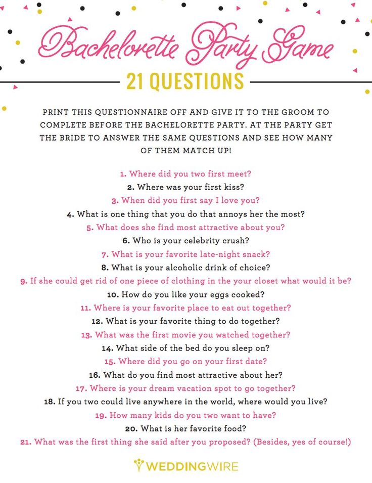 21 Questions Game. Bride should drink every time she gets it wrong!