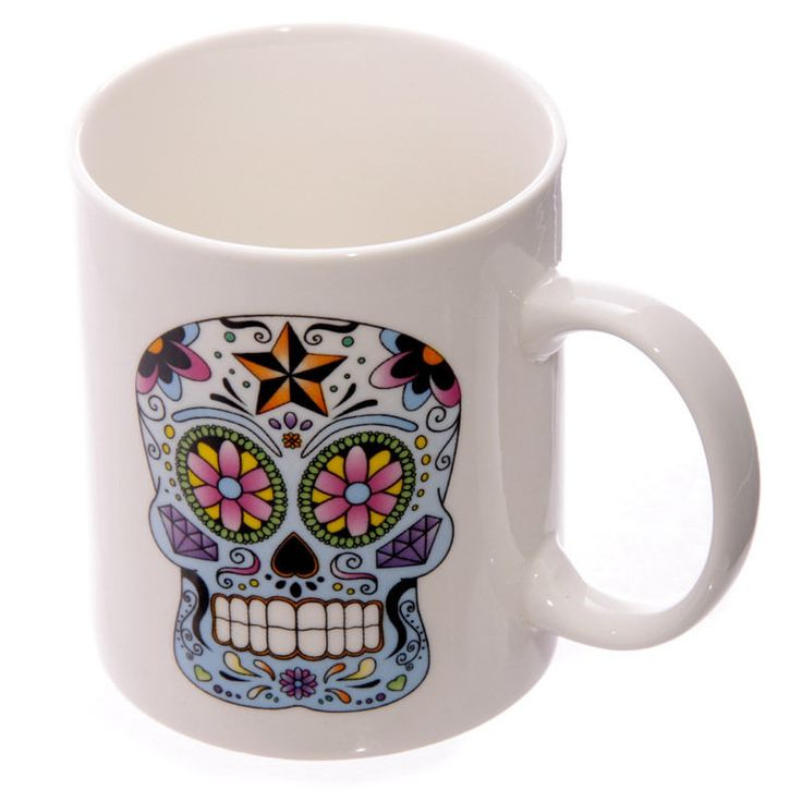Candy Skulls Day of the Dead Design Cup New Bone China Ceramic Mug