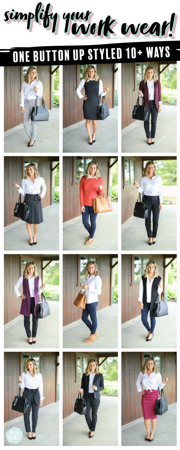 How to Style a Button Up for Work // 1 Shirt, 10+ Ways Macy's #macyslove #ad #ad…