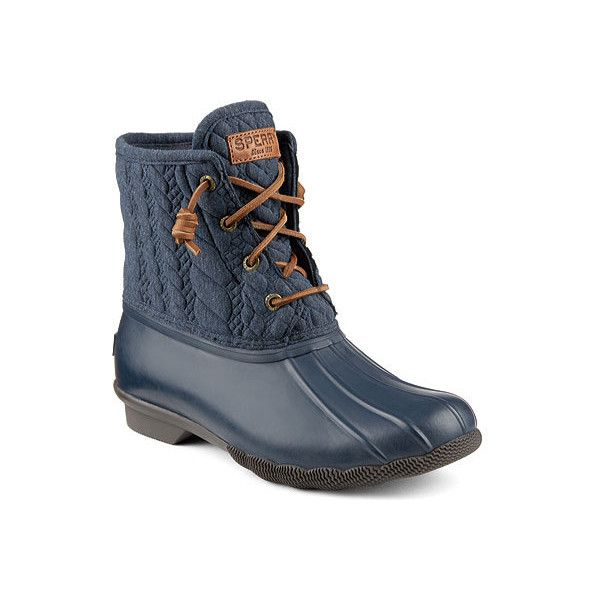 Women's Sperry Top-Sider Saltwater Duck Boot - Navy Rubber/Rope Emboss... ($100) ❤ liked on Polyvore featuring shoes, boots, casual, winter boots, slip resistant shoes, sperry boots, rubber duck boots, lace up winter boots and rubber boots