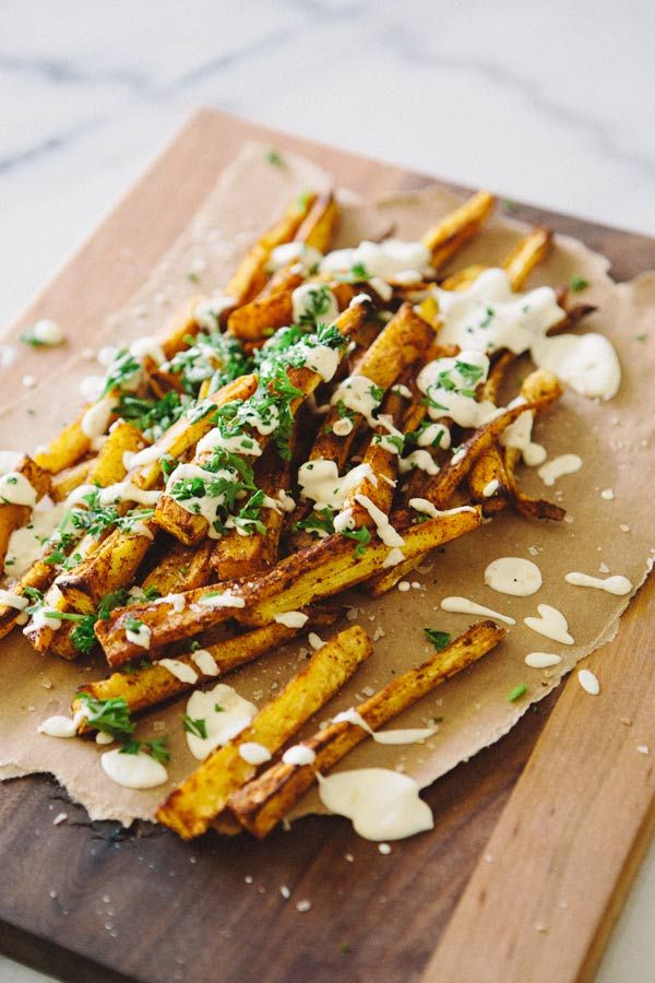 Paprika Parsnip Fries with Lemon Cashew Cream Sauce. From A House in the Hills.