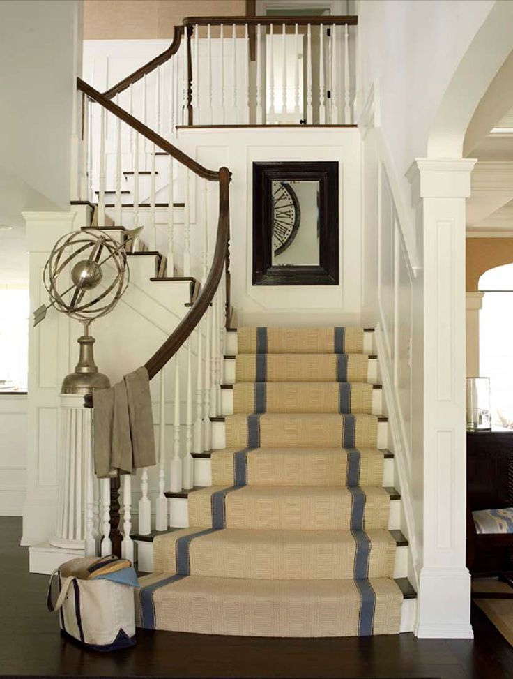 striped sisal runner: Mirror, Interiors Design, Stairs Runners, Carpets, House, Rugs, Homes, Stairways, Decor Blog