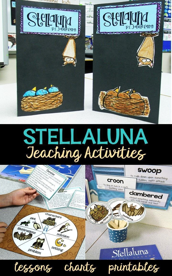 Stellaluna is a teacher's dream for helping you turn your readers into comprenders. This complete unit for first and second grade includes fun story activities, anchor charts literacy games, lesson plans and graphic organizers for sequencing, writing, story elements, word work, fluency, comprehension, and character analysis.  Your students will love the culminating foldable lapbook , too!
