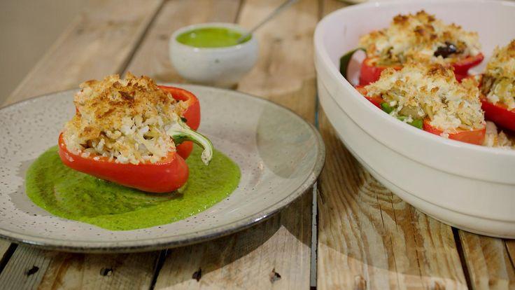 Paprika's gevuld met Griekse rijst en feta | Dagelijkse kost