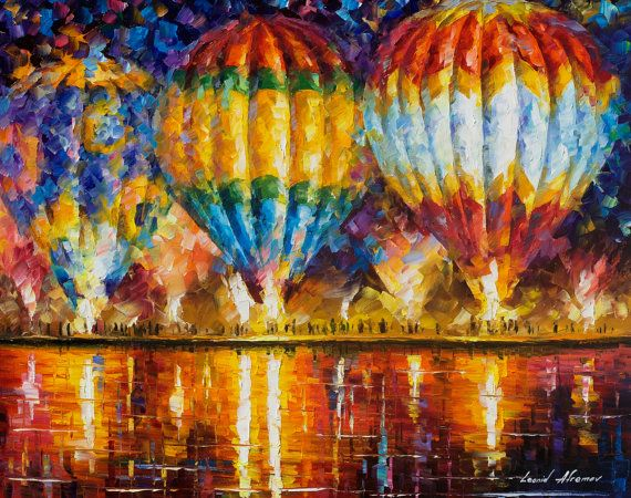 Original Recreation Oil Painting on Canvas  This is the best possible quality of recreation made by Leonid Afremov in person.    Title: Balloon