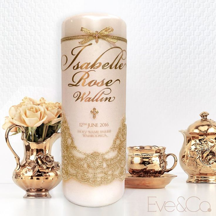 Antique gold and ivory for this sweet little girl's christening candle
