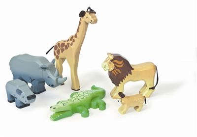 Savannah Wild Animals Wooden Toys. Get ready for a wild safari with this Savannah Wooden Wild Animals set from Le Toy Van. This lovely painted wooden animal set comprises 6 hand-finished animals including an adult rhino and its calf, lion and cub, giraffe and crocodile some featuring fabric features