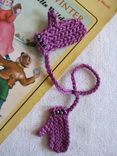 Tiny crochet mittens bookmark