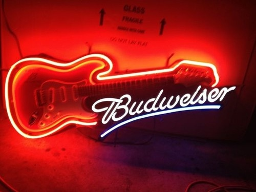 Budweiser Beer True B Music Electric Guitar Neon Lighted Sign Man Cave Room