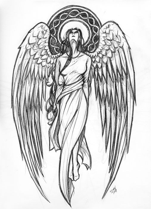 Protector Angels Drawings | Guardian Angel Tattoo Design aug 09