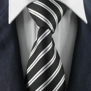 Black & Silver Striped Neckties / Formal Business Neckties.