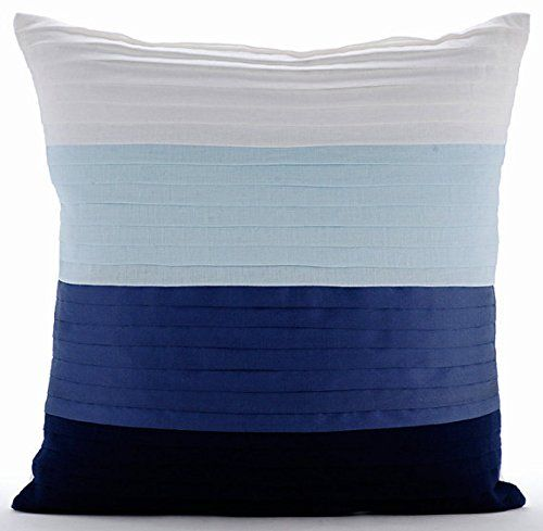 Cool Breeze - 20x20 inches Square Decorative Throw Pillow Cover Shades Of Blue Linen Pillow ...