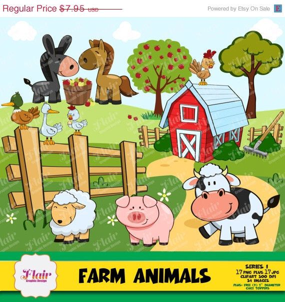 50 OFF FARM ANIMALS Clipart Barnyard Apples Apple Trees Cow