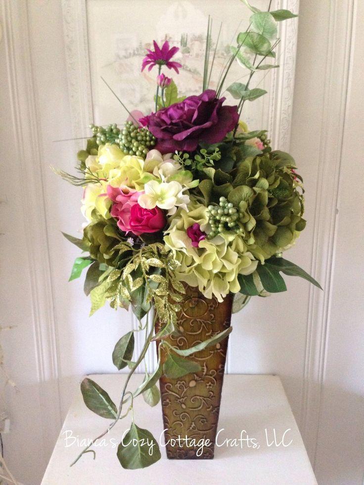 Large flower arrangement in tin vase hydrangea arrangement centerpiece floral arrangement mixed flower arrangement floral home decor (95.00 USD) by BsCozyCottageCrafts