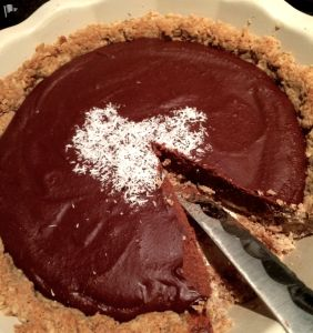 It's vegan, dairy, gluten & wheat free. It's also our favourite chocolate pie.