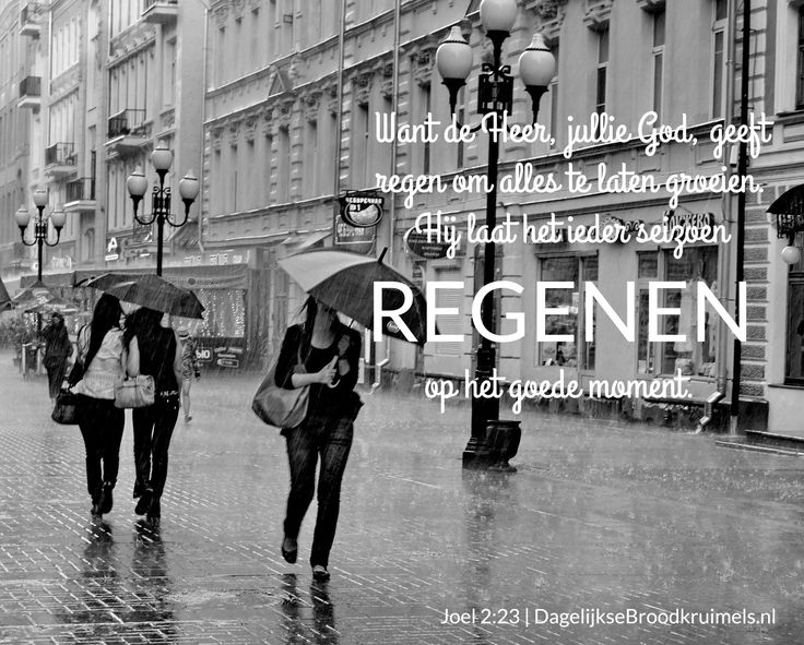 Want de Heer, jullie God, geeft regen om alles te laten groeien. Hij laat het in ieder seizoen regenen op het goede moment. Joël 2:23  #Regen  http://www.dagelijksebroodkruimels.nl/joel-2-23/