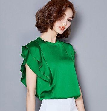 2016 volantes de manga corta de la manga de raso blanco blusas de las mujeres más el tamaño camisa de las mujeres de gran tamaño de seda satén de seda blusa camisa cuerpo superior(China (Mainland))