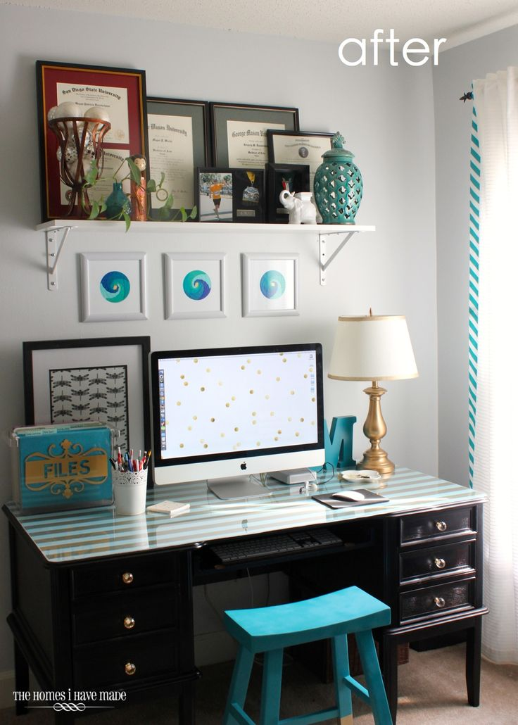 desk/office makeover update. I SO love every thing about this!