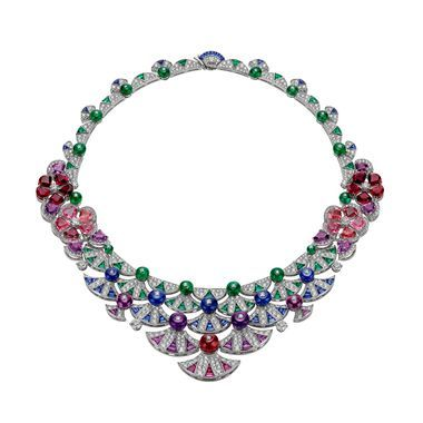 Bulgari Scalinata amethyst, emerald, rubellite and sapphire neckalce                                                                                                                                                                                 More