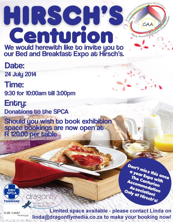 """Catch Wudersheet at the Hirsch's Centurion """"Bed and Breakfast Expo"""" that's happening 24 July 2014"""
