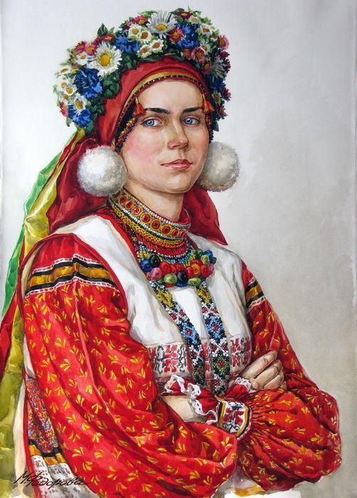 Портрет девушки в праздничном народном костюме Калужской губернии.-худ.Марина Фёдорова