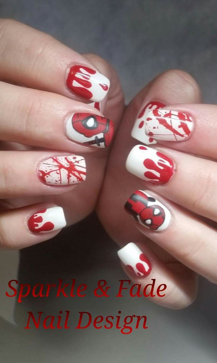 About baby boomer nail art tutorial by nded on pinterest nail art - Handpainted Deadpool Nails Done By Christine Ingalls Of Sparkle And Fade Nail Design