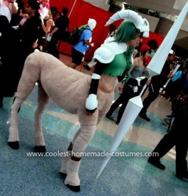 Homemade Centaur Costume: After going to Ren Faire last year, I sketched out a design for a centaur costume with moving legs. The skull is pipe foam covers held together with masking