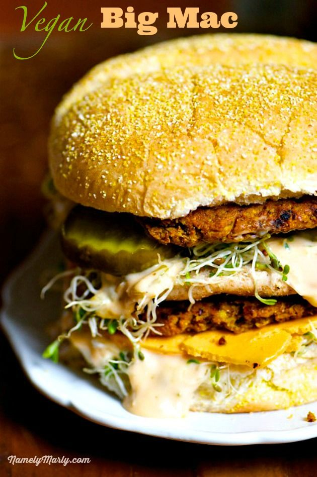 It's time you enjoyed the Vegan Big Mac: Two all-Pinto Patties, Vegan Special Sauce, Micro Greens, Vegan Cheese, Pickles Onions on a Dairy-free Bun. Catchy, eh? | NamelyMarly.com