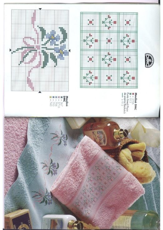 Designs to Decorate Towels • #10 – Floral Spay and #11 Flowers in a Grid pattern