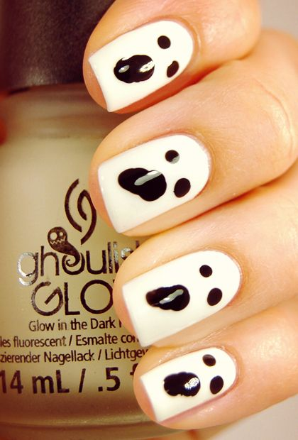 Glow-in-the-Dark Ghost Nails | 25 Clever Nail Ideas For Halloween: