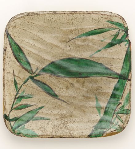 Square dish with bamboo grass design.  late 18th to early 19th century, Kyoto, Japan, by artist Ogata Kenzan.