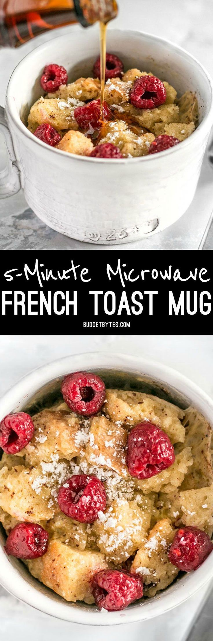 These fast and easy 5-Minute French Toast Mugs are a great single serving breakfast treat plus a way to use leftovers and reduce food waste. BudgetBytes.com