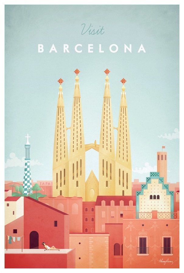 Visit Barcelona Henry Rivers With Images Barcelona Travel Poster Travel Posters Retro Travel Poster