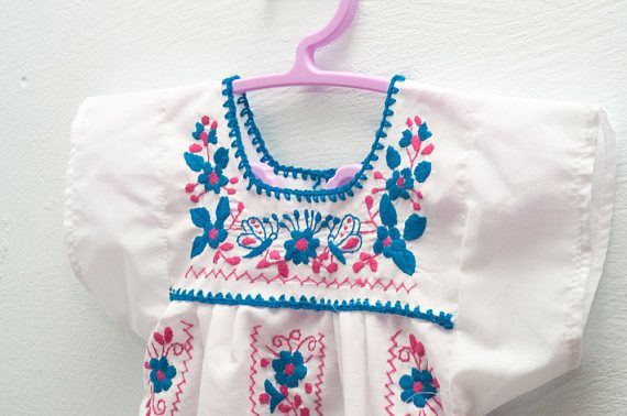 Mexican baby dress: girl flower and butterfly embroidery one