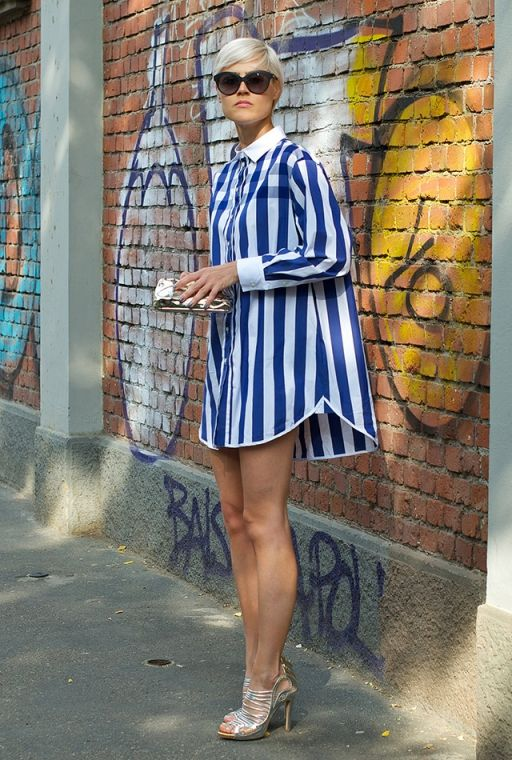 LindaTol in Milan. Stripes in street style.