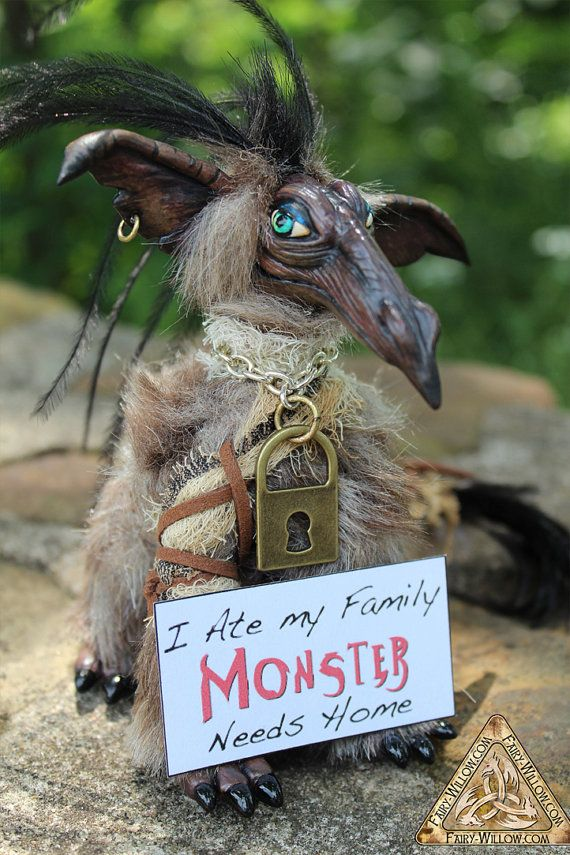 "For Sharon / Monster Pet art doll OOAK original sculpture Collectors Item, ""I ate my family, Monster needs home"""