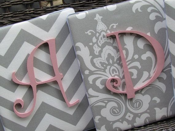 Wall Letters Pink and Gray Nursery Gray and by spellitwithstyle