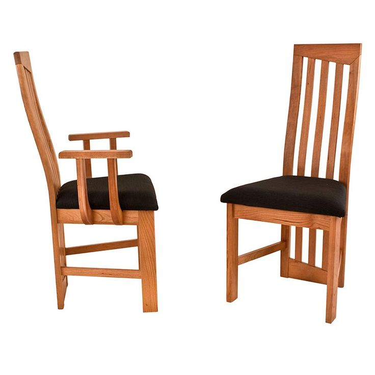 Modern High Back Dining Chairs. Natural Cherry. Handmade in Vermont, USA.